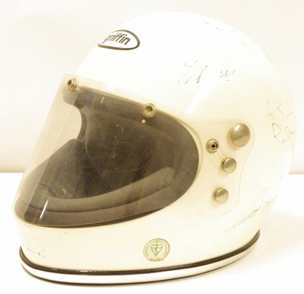 Lot 123. - Signed Griffin crash helmet.