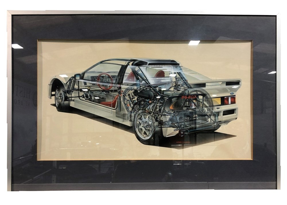 Lot 117 - An original airbrush cutaway artwork of the 1980's Ford RS200 ...