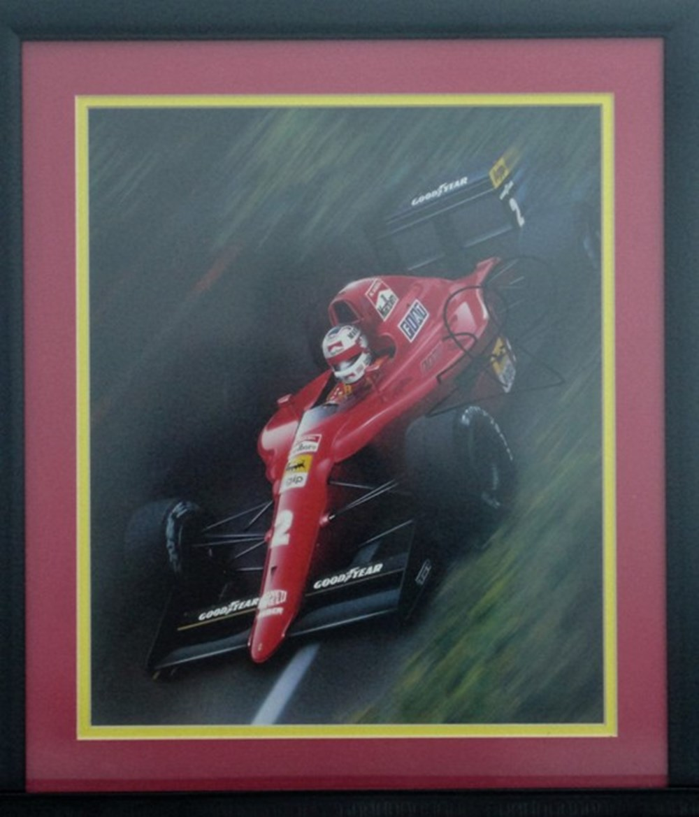Lot 64 - A signed Nigel Mansell print.