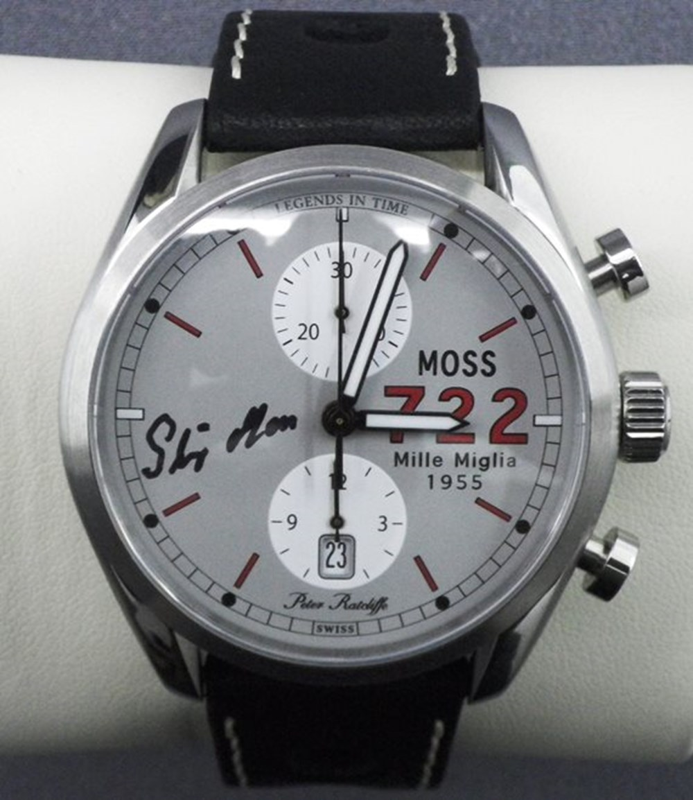 Lot 138 - Moss 722 chronograph wristwatch (Signed by Stirling Moss)