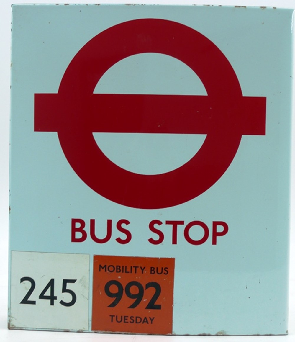 Lot 002 - London Transport bus stop sign