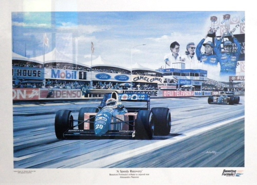 Lot 23 - Three large F1 glazed prints.