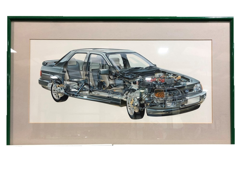 Lot 120 - An original artwork showing the 1980's Ford Cosworth Sierra