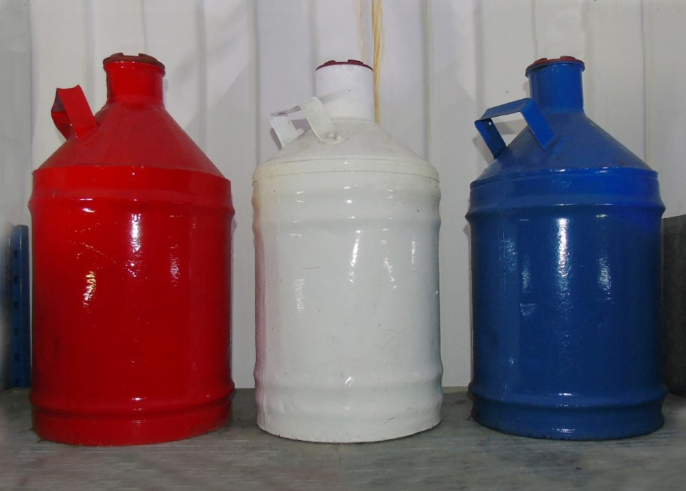 Lot 5 - Three five-gallon petrol cans...