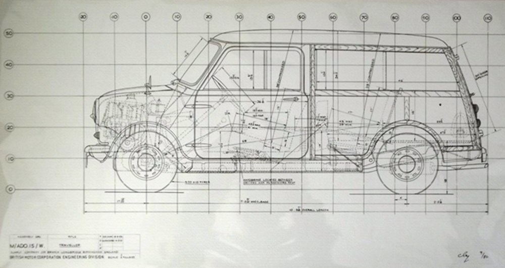 Lot 014 - 1960s Morris Mini Traveller limited edition line drawing prints