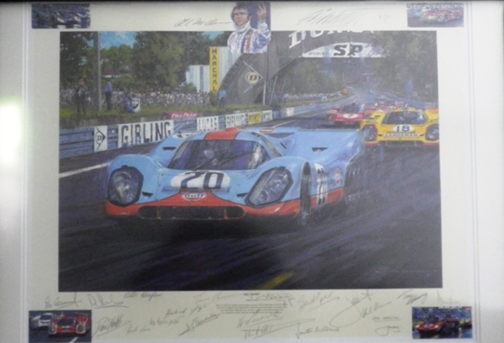 Lot 84 - A multi signed Porsche 917 print.