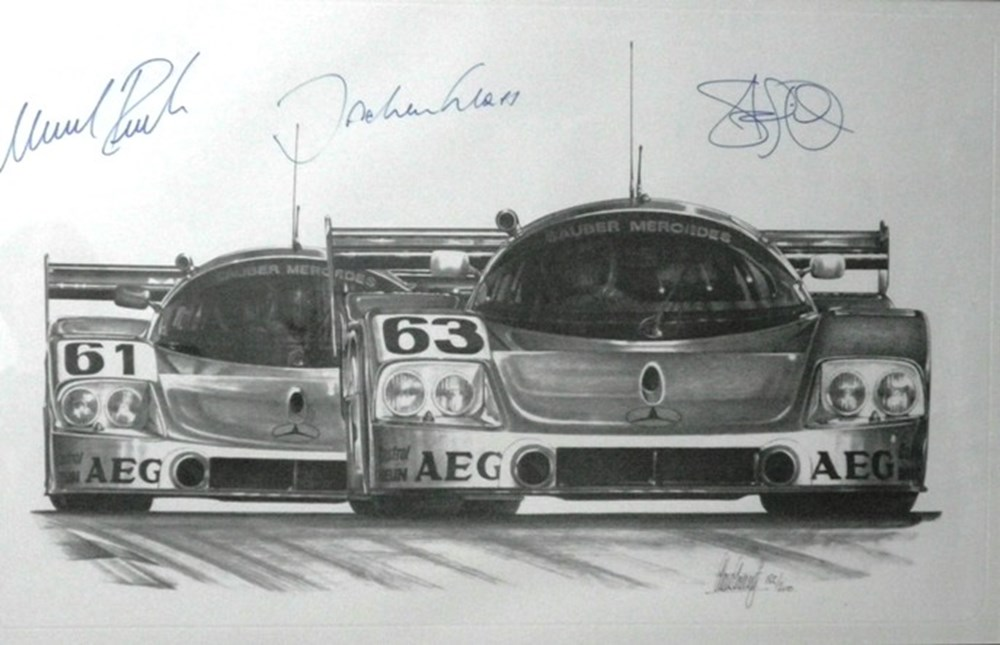 Lot 92 - A signed Mercedes-Benz C9 print