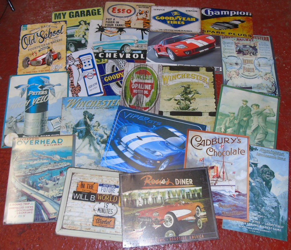 Lot 6 - A selection of 21 tin plate modern transport related signs...