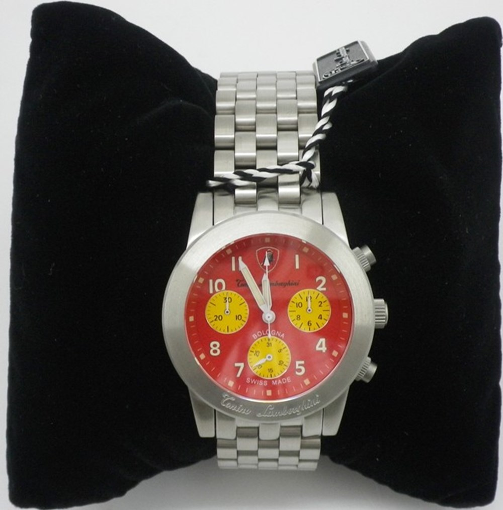 Lot 70 - Lamborghini red-faced wrist watch
