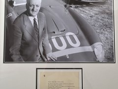 Navigate to Enzo Ferrari signed post card.