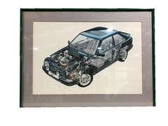 Navigate to An artwork showing in cutaway form the 1980's Ford RS Turbo
