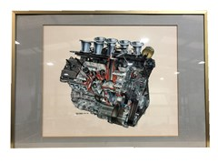 Navigate to A cutaway artwork of the Ford Cosworth DFV V8 engine