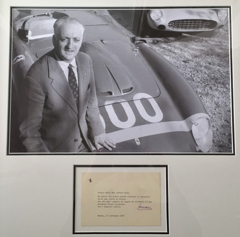 Lot 113. - Enzo Ferrari signed post card.