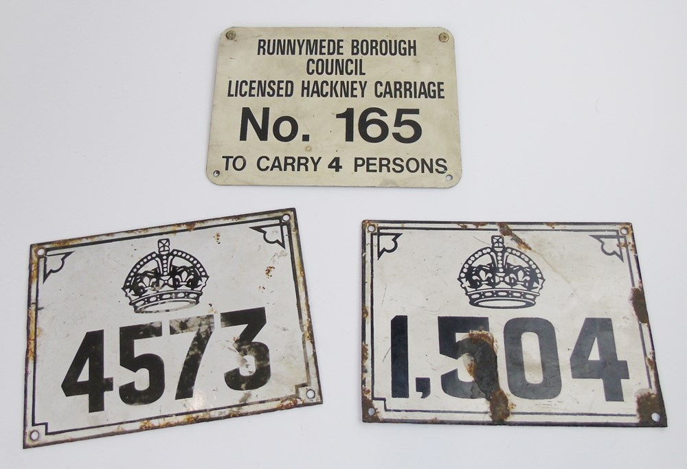Lot 42 - Three London Taxi plates ...