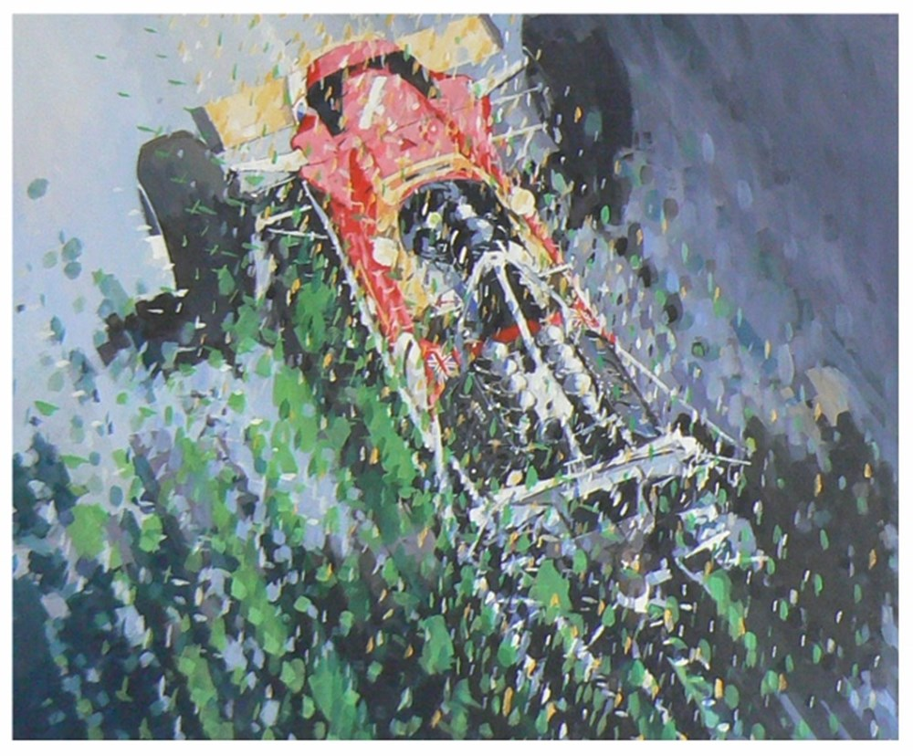Lot 63. - Simon Ward Graham Hill painting.