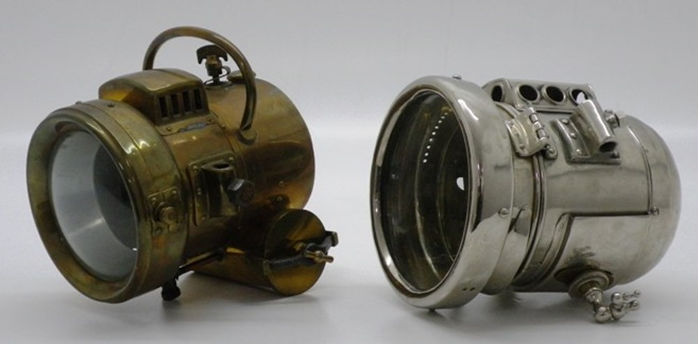Lot 21 - Two early vehicle gas lamps