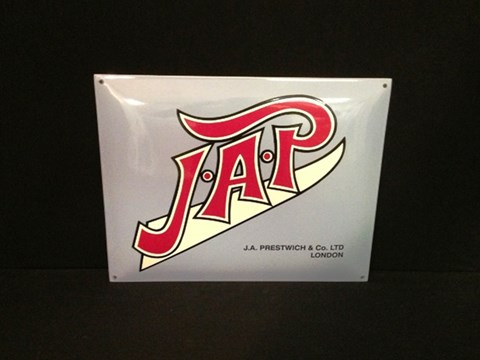 J.A.P enamel sign