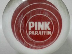 Navigate to A pink parafin globe.