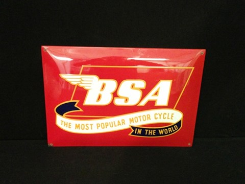 BSA enamel sign