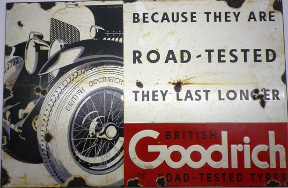 Lot 32 - Goodrich tyres enamel sign