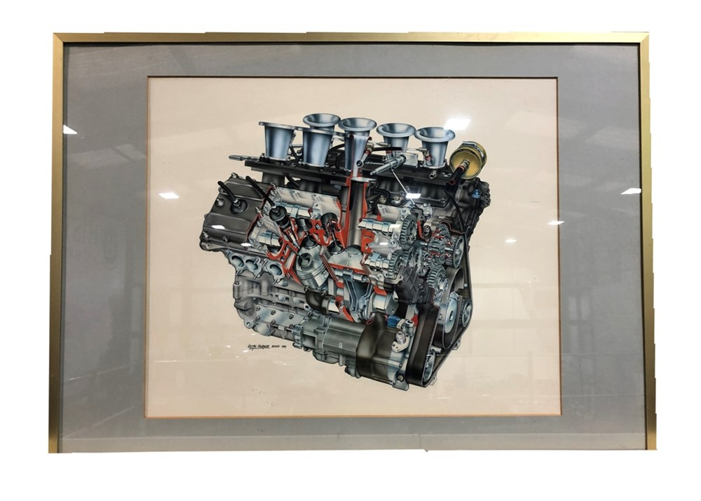 Lot 118 - A cutaway artwork of the Ford Cosworth DFV V8 engine