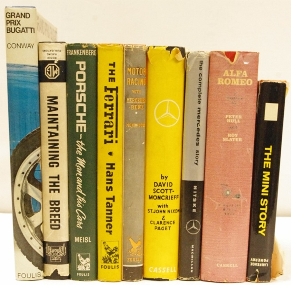Lot 24. - nine motoring books.