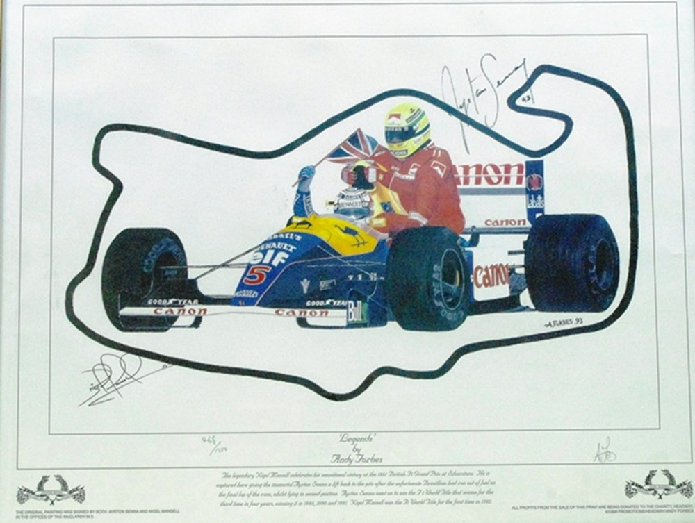 Lot 113 - Legends, Mansell and Senna.