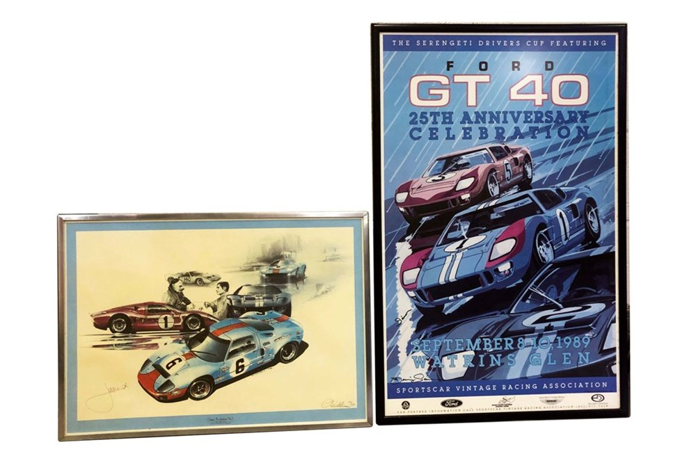Lot 105 - Two Ford GT 40 framed photos