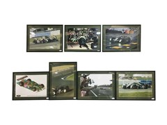 Navigate to Seven assorted framed pictures of Team Bentley