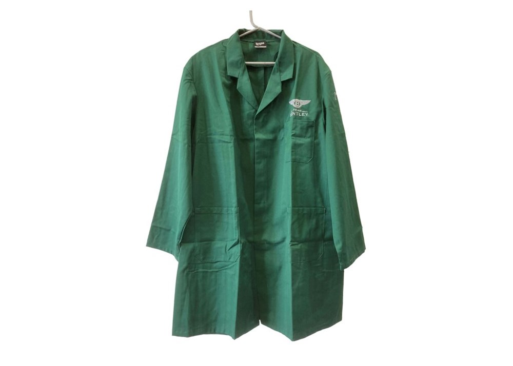Lot 73 - 10 Team Bentley, green workshop coats