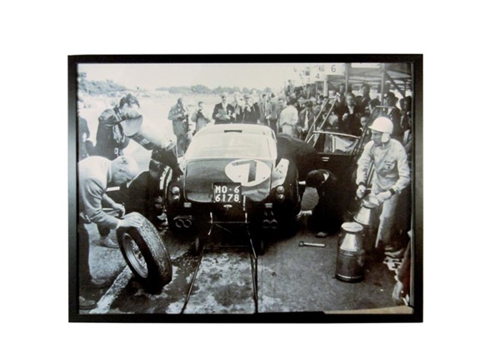 Lot 125 - Framed Moss refueling the Ferrari 250 SWB