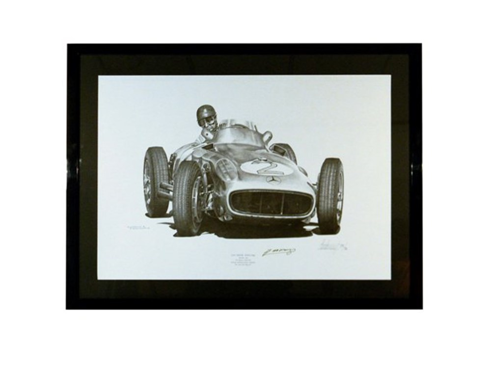 Lot 129 - Juan Manuel Fangio signed framed print