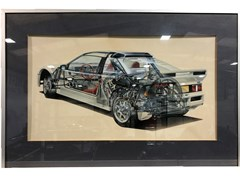 Navigate to An original airbrush cutaway artwork of the 1980's Ford RS200 ...