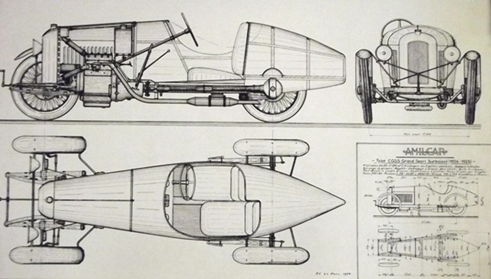 Lot 009 - Eight Amilcar line drawings