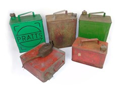 Navigate to A collection of eleven petrol cans...